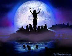 Silhouette Art by Liza Lambertini Evil Mermaids, Drawing Down The Moon, Mermaid Fairy, Under The Moon, The Worst Witch, Moon Painting, Silhouette Images, Merfolk, Moon Goddess