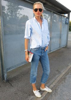 Love the denim on denim here, not easy to do well.