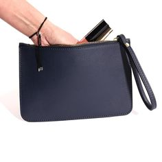 Italian Leather Clutch Bag with Wrist Strap in Navy Leather Clutch Bags, Italian Leather, Evening Bags, Purses, Navy, My Style, Leather Bum Bags, Handbags, Hale Navy