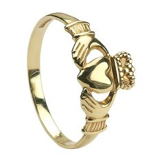 10k Yellow Gold Baby Claddagh Ring 6.7mm ❤ liked on Polyvore
