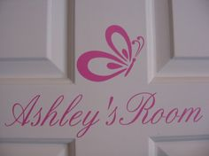Vinyl NAME Wall Decal plus Butterfly  Children by santasgiftshoppe, $10.95