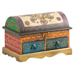 Large Indian Domed Treasure Chest - This chest is intricately detailed with traditional Indian hand painting in a rainbow of colours. A new addition to our range - a perfect gift for giving.