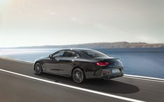Download wallpapers Mercedes-Benz CLS53 AMG, 2019, rear view, new black CLS, German cars, Mercedes