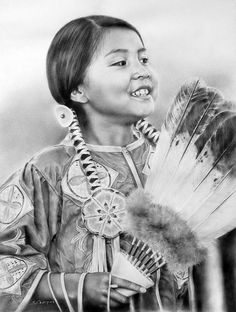Looks so realistic that you think it is a photograph but instead it is a lovely piece of art drawn from a photo of a young Native American girl. Native American Children, Native American Beauty, Native American Photos, Native American Tribes, Native American History, American Indians, American Girl, We Are The World, Native Indian