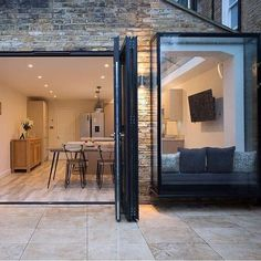 When designing a side return extension, the provision of natural light is an important consideration. On this project we installed a glass roof, which is an excellent way of maximising . House Roof Design, House Extension Design, Extension Designs, Glass Extension, Door Design, Extension Ideas, Window Seat Kitchen, Window Seats, Open Plan Kitchen Living Room