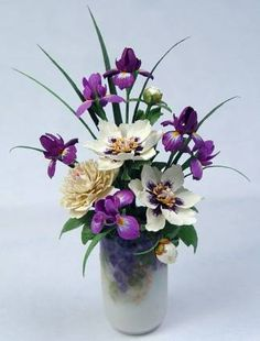 "Irises and peonies Ginger Wyatt vase -   $335   -  2 1/4""tall"