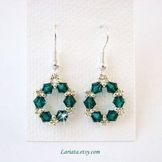 emerald green and silver earrings | Flickr - Photo Sharing!