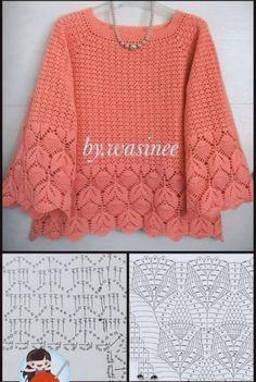 Crochet Collar Pattern, Crochet Jacket, Crochet Cardigan, Knitting Patterns, Crochet Patterns, Crochet Woman, Hand Knitted Sweaters, Crochet Fashion, Crochet Designs