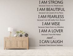 I Am Strong Vinyl Wall Decal - I am Beautiful - I am Fearless - I am Wise - I am a Lover - I Can Laugh