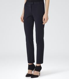 Womens Navy Tailored Trousers - Reiss Crema £110