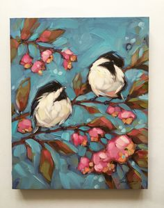 Blossom Chickadee and Floral painting, Original impressionistic 8x 10 oil painting by Andrea Lavery. Two Chickadees perched on branches with vibrant pink flowers on a blue background created with bold brush strokes. This painting is fresh off the easel and wont be ready to shop until April 18th. Professional fine art board is 1/2 thick. These paintings can be easily and inexpensively framed using a standard photo frame minus the glass or with a matte. Also it can be hung as is, flush to the…
