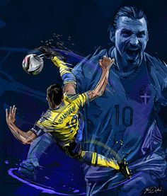 An order from the Bleacher Report, A painting for the Birthday of the incredible goal of Zlatan Ibrahimovic against England. Football Images, Football Art, World Football, Ibrahimovic Wallpapers, Soccer Drawing, Pogba, Cristano Ronaldo, Soccer Poster, Football Wallpaper