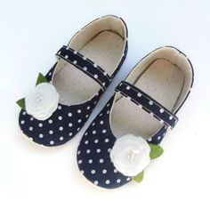 Baby Girl Shoes, Infant Shoes, Navy Blue, White Polka Dot Mary Janes, Newborn Booties, Baby Girl, Little Serah on Etsy, $28.50