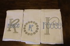 Set of three monogrammed/appliqued burp cloths-baby boy baby girl gift--baby shower--hospital gift--coming home gift--personalized--unique