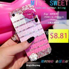 Luxo 3D cristal diamante lábios vara strass Handmade caso capa para Apple iPhone 6 5 5S 4 4S 5c bling capa funda carcasa