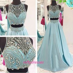 HU913 2 pieces Prom Dress,Blue Prom Dress,Sexy Prom