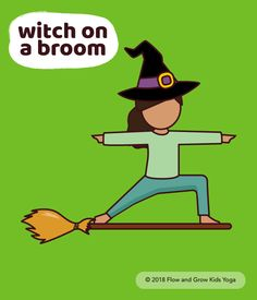 Yoga witches balance in top of their broom sticks. Stay balanced as you ride over the noon. Dont forget to laugh and cackle like a real witch!