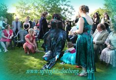 Janice had the 'Twilight' design, which is now part of the collection. When she  (the Uptight Clothing Janice!) married gary in september at the wonderful venue of South farm. If your looking for a venue with a brilliant outside option, its worth a look...handfasting, jumping the besom! Turquoise Wedding Dresses, Handfasting, Twilight, September, Clothing, Collection, Design, Outfits, Kleding