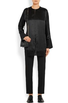 Givenchy - Fringed Top In Black Silk-satin - FR34