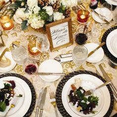 The mix of classic black and white elements with glittering gold plates makes it modern and elegant | Real Wedding: Gary Ireland and Gilbert Archuleta | Photo by: James Moes | Seattle Met Bride and Groom W/S 13