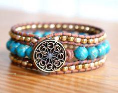 Leather cuff bracelet Shabby chic bohemian rustic by OlenaDesigns