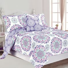 This reversible cotton quilt set features a medallion design in pink, aqua and purple on a white background with a purple medallion pattern reverse. Matching shams and decorative pillow are included. Satin Pyjama Set, Satin Pajamas, Big Girl Rooms, Design Studio, Quilt Sets, Teen Bedroom, Bed & Bath, Bedding Sets, Comforters