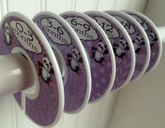 6 Baby Closet Dividers Purple Panda Bears by WatchMeGrowStickers