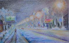Василий Россин (Vasily Rossin), Зимняя Тула ночью (Winter Tula night) 2016 г. Бумага, карандаш (Pencil on paper) 26 х 16