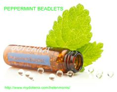 Enjoy the benefits of peppermint essential oil in the convenience of a soft gelatin beadlet. Each tiny beadlet delivers a refreshing burst of peppermint as it quickly dissolves in your mouth, while invigorating your senses as you breathe in the cooling aroma of pure peppermint essential oil. doTERRA Peppermint Beadlets can be used for oral care, respiratory health, digestive comfort, and all other situations in which peppermint essential oil is used internally. www.mydoterra.com/helenmorris/