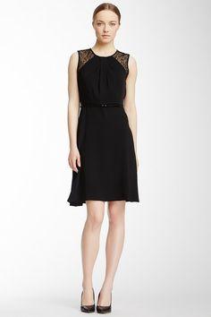 Calvin Klein Sheer Yoke Belted Dress by Non Specific on @HauteLook