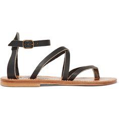 K Jacques St Tropez Epicure leather sandals (807.170 COP) via Polyvore featuring shoes, sandals, black, strap sandals, black leather sandals, ankle tie sandals, black strappy sandals and black leather shoes