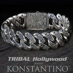 Shop our sterling silver bracelets for men at Tribal Hollywood. We carry sterling silver cross and link bracelets, Scott Kay and King Baby mens bracelets and more. Mens Silver Jewelry, Sterling Silver Bracelets, Silver Earrings, Men's Jewelry, Jewelry Tools, Jewlery, Jewelry Making, Mens Id Bracelets, Cool Rings For Men