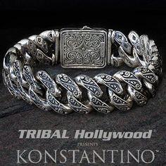 Shop our sterling silver bracelets for men at Tribal Hollywood. We carry sterling silver cross and link bracelets, Scott Kay and King Baby mens bracelets and more. Mens Silver Jewelry, Sterling Silver Bracelets, Silver Ring, Silver Earrings, Men's Jewelry, Jewelry Tools, Jewelry Making, Mens Id Bracelets, Beaded Bracelets