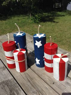 WHIZ BANGERS firecracker trio fence post rustic Fourth of July red white blue Independence Day wood upcycle decor cute Fourth Of July Decor, 4th Of July Decorations, 4th Of July Party, July 4th, Birthday Decorations, July Crafts, Holiday Crafts, Patriotic Crafts, Patriotic Party