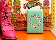 Vintage mint green rotary telephone address book