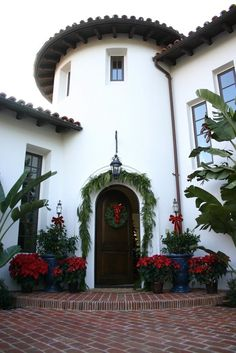 Spanish entry decorated for Christmas