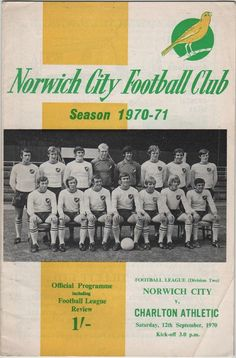 Vintage Football Programme - Norwich City v Charlton Athletic, 1970/71 season,by DakotabooVintage, £3.99