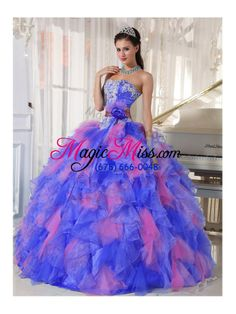 Appliques and Flowers Organza Quinceanera Dress for Sweet 16 - US$218.69