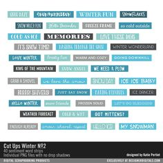 Cut Ups: Winter No. 02 word strips and sentiment stickers for scrapbooking #designerdigitals
