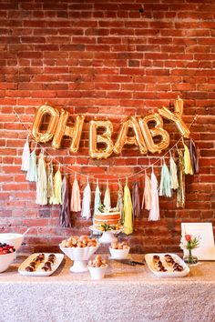 """inspiration for setting up a food tableish area... like with the """"1"""" and then some colored tissue poms."""