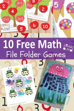 "FREE! Spice up math practice with these 10 free printable file folder games! Addition, subtractions, counting, fractions, multiplication, skip counting, telling time and MORE!!  (via ""Itsy Bitsy fun"").  Download at:  http://www.itsybitsyfun.com/blog/10-fun-math-file-folder-games-free-printable#_a5y_p=2151432"