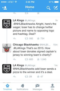 Friendly Twitter wager between the #Blackhawks and the #Kings during the WCF [May 18, 2014]