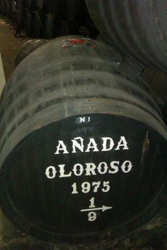 Bota de Oloroso Añada 1975 en Bodegas Tradición (Jerez de la Frontera). Take a look at the sealed wax on the top of the cask to secure the integrity of the wine inside and to prevent that no one can add more wine.