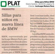 Inchcape Motors: Nuevas sillas de auto BMW en el diario Gestión de Perú (16/03/15)
