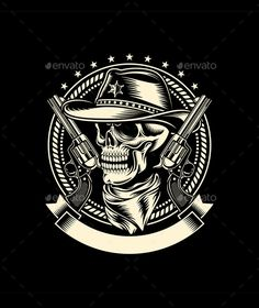 Cowboy Skull with Handguns — JPG Image #cowboy #skull • Available here → https://graphicriver.net/item/cowboy-skull-with-handguns/10617265?ref=pxcr
