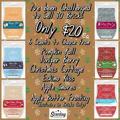 Scentsy Bricks are back while supplies last! A new scent is available too....Apple Butter Frosting!!! Only available in the brick size! Order yours through my website on November Party #1!  https://sarahsentle.scentsy.us