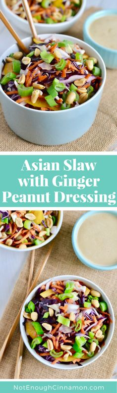 You can eat this Asian slaw with Ginger + Peanut Dressing as a side, with a dish of meat or fish or as a main. Find this healthy and gluten free recipe on NotEnoughCinnamon.com #cleaneating