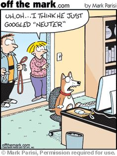 When your pet finds out what Neuter really means.