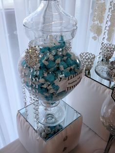 candy buffet, white candy, rock candy, turquoise candy