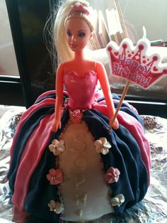 Easy princess cake.  Use a leg less doll and do a double mix of sponge cake cooked in a metal bowl.